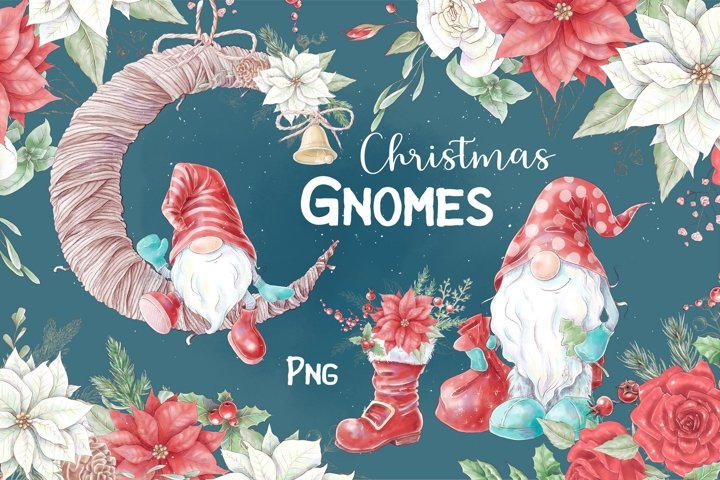 Christmas gnomes and decorative elements, digital watercolor