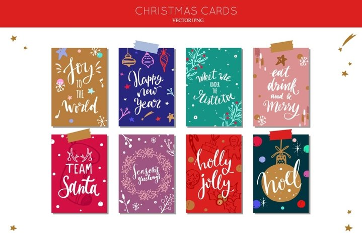 Merry Christmas and New Year cards with calligraphy