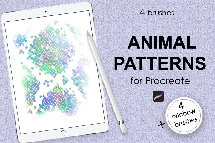 4 animal pattern brushes and 4 rainbow brushes for Procreate