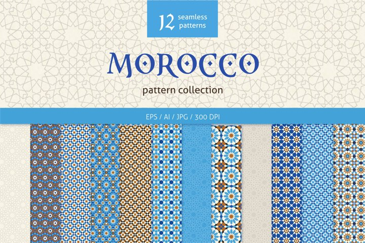 Morocco collection, set of 12 mosaic seamless patterns