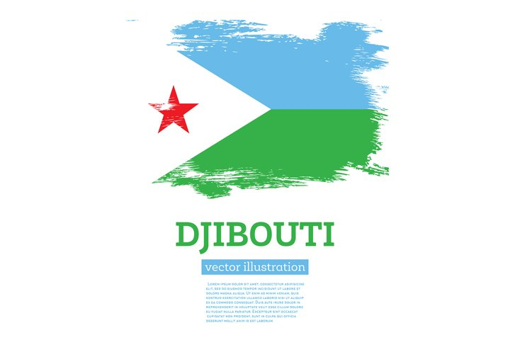 Djibouti Flag with Brush Strokes.