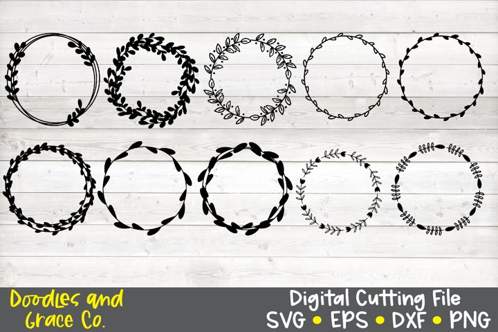 Hand Drawn Wreath Bundle SVG - DXF - EPS - PNG