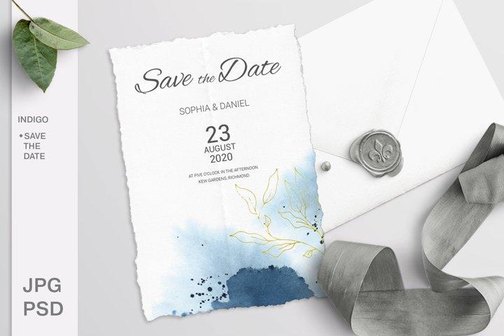 Indigo Wedding Save the date card. Editable template