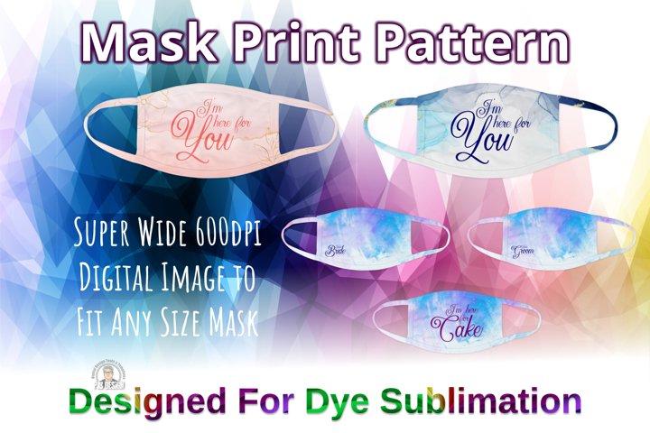 Wedding Set of 5 Face Mask Design Templates For Sublimation