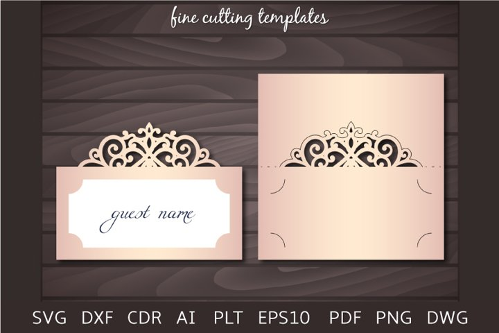 Wedding Place card SVG cutting template, laser cut
