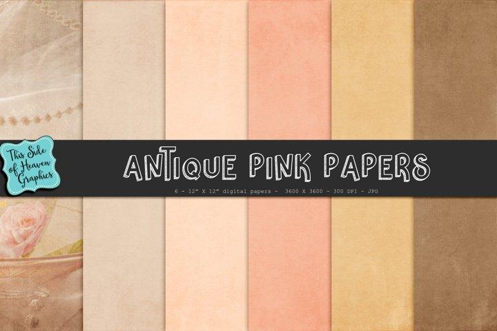 Textured Digital Scrapbook Papers - Antique Pink