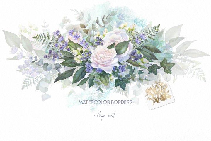 White rose border clip art, watercolor floral wedding frame