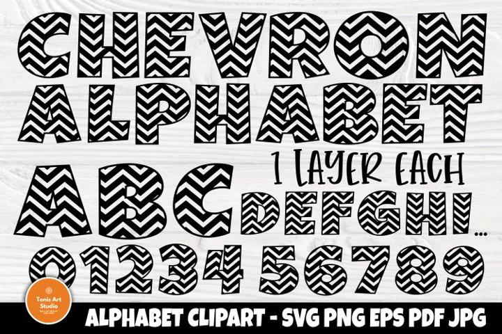 Chevron Alphabet SVG, Monogram Letters Svg, Font Svg