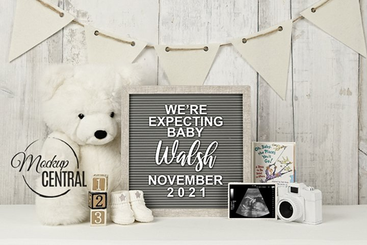 Pregnancy Announcement Letterboard Mockup Template PSD
