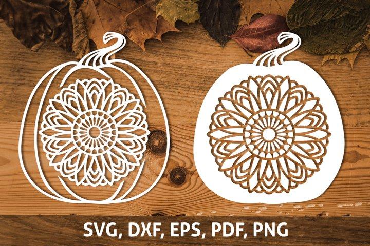Pumpkin Sunflower Mandala SVG, Fall Thanksgiving cut file