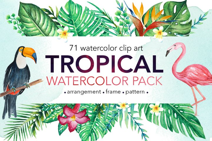 TROPICAL Watercolor clip art pack