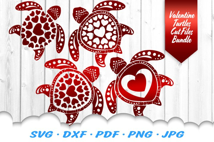 Valentines Sea Turtle Heart Mandala SVG DXF Cut Files