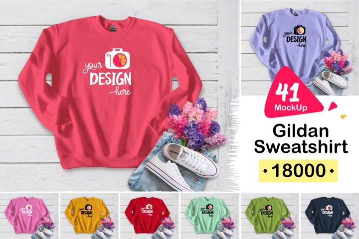 Gildan Sweatshirt 18000 white wood 003