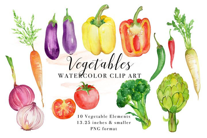 Vegetables Watercolor Clip Art, Painted Vegetable