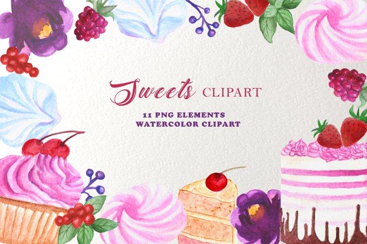 Sweet cake watercolor clipart bakery, Logo Cake Design