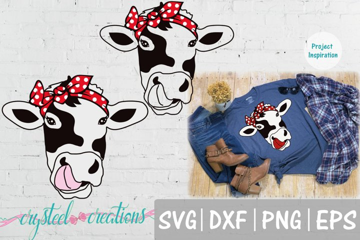 Cow Head Tounge Sticking Out with Bandana SVG, DXF, PNG, EPS