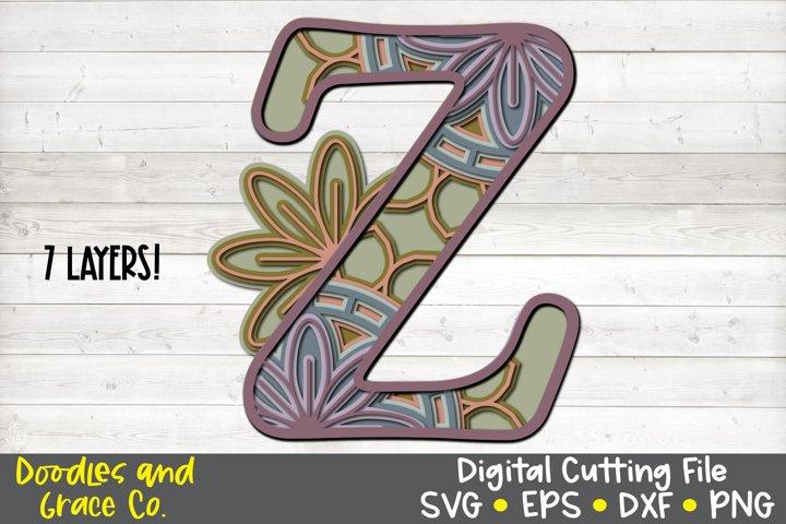 Letter Z 3D Layered Alphabet Mandala SVG - EPS - PNG - DXF