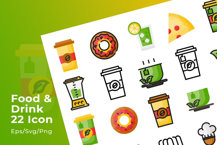 Set of 22 Food and Drink icon with 3 stye design