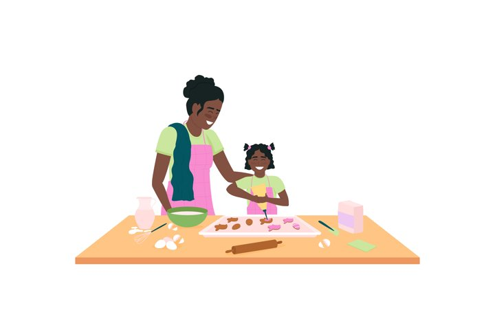 American mother and daughter baking easter cookies character