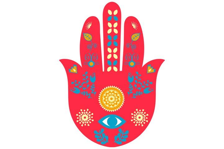 Hamsa hand, hand of Miriam, evil eye protection, eye Miriam