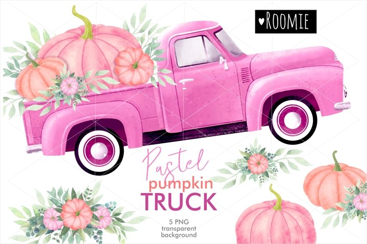 Watercolor pink pastel truck PNG with pumpkins and bouquets
