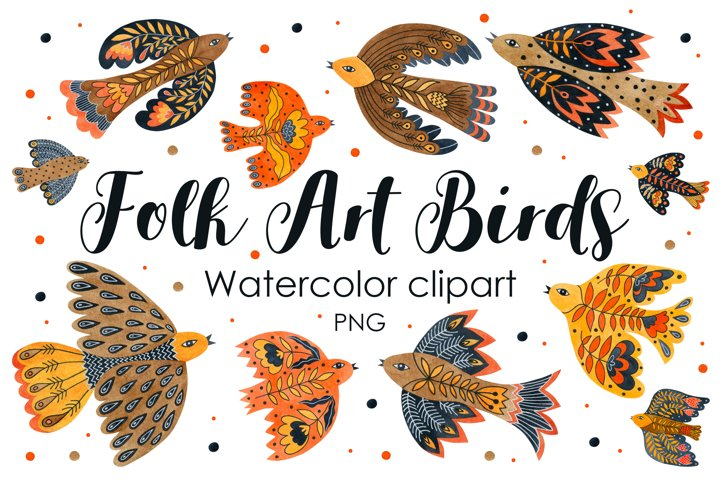 Folk art birds. Watercolor clipart.