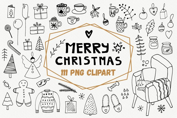 Merry Christmas PNG doodle clipart. Big winter bundle