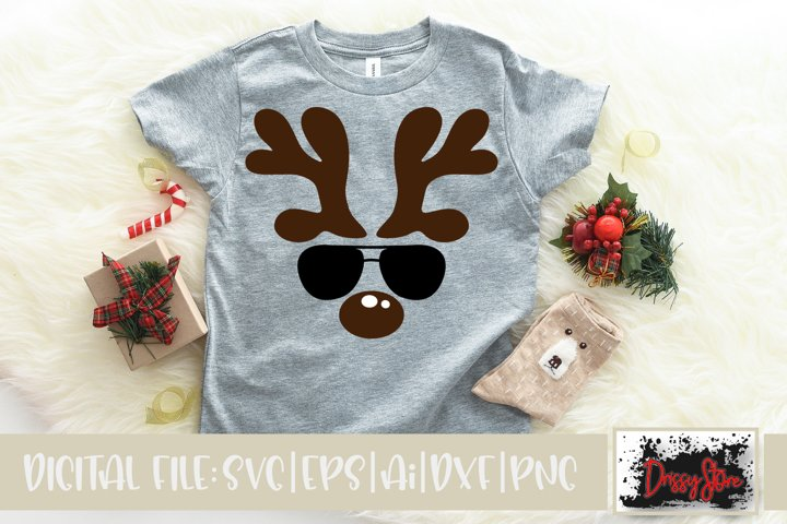Christmas SVG DXF EPS PNG Reindeer face with Sunglasses