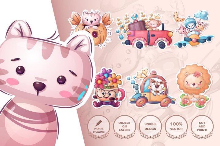 Set cute animals and sticker