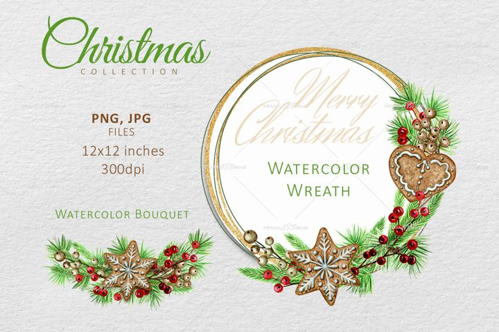 Watercolor Christmas wreath, Winter Greenery Bouquet Clipart
