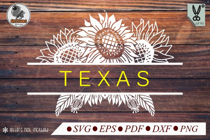 Split Flower SVG, Flower silhouette, simple sunflower