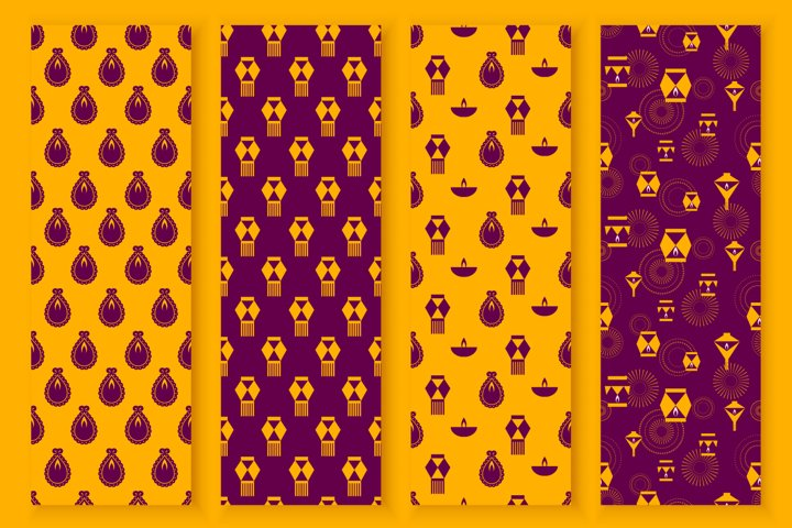 Modern seamless patterns for Indian festival Diwali vector