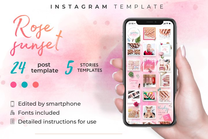 Beauty salon|instagram template kit|canva template|24 post