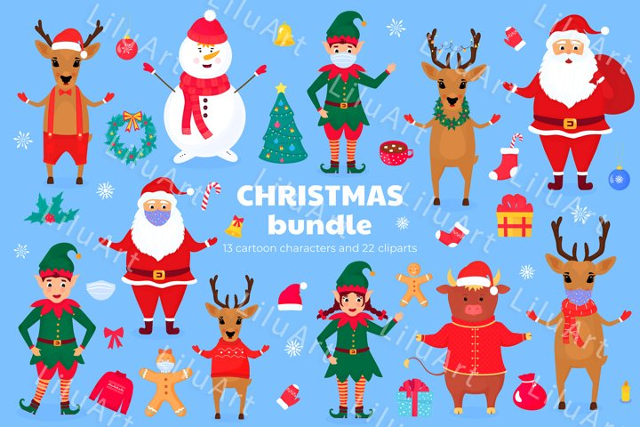 Christmas and New Year cartoon characters and clipart