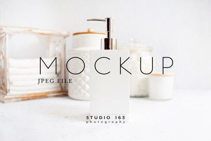 Soap Dispenser Mockup, Bathroom Stock Image, JPEG