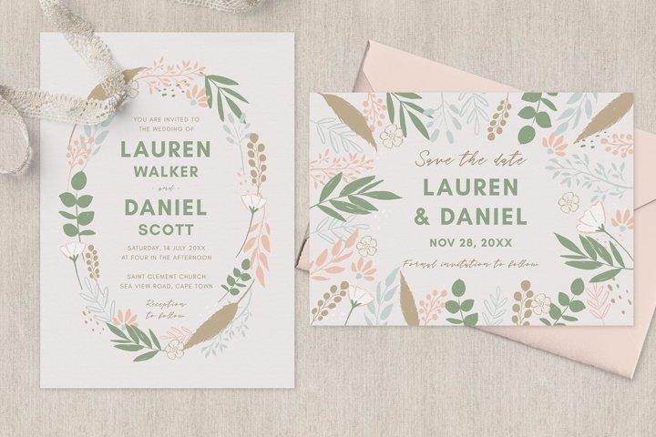 Spring Wreath Wedding Invitation Suite