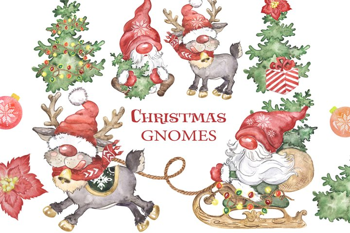 Gnomes watercolor clipart Scandinavian gnomes deer Christmas