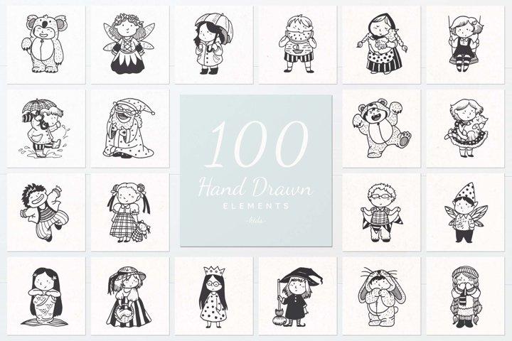 100 Hand Drawn Elements -Kids-
