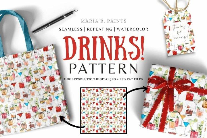 Cocktails Pattern Seamless Repeating Drinks Pattern JPG PAT
