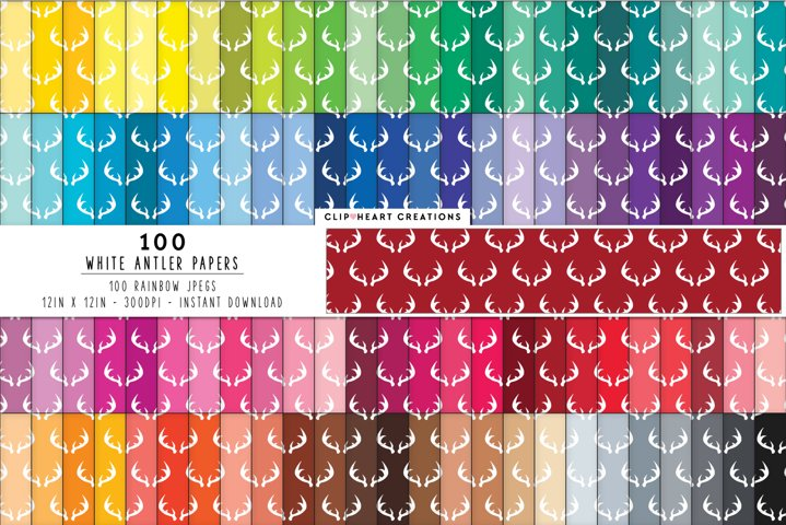 100 White Antler Digital Papers - rainbow colors 12 x 12in
