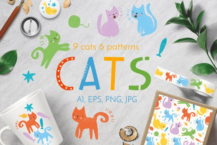 Funny cats eps,ai,png