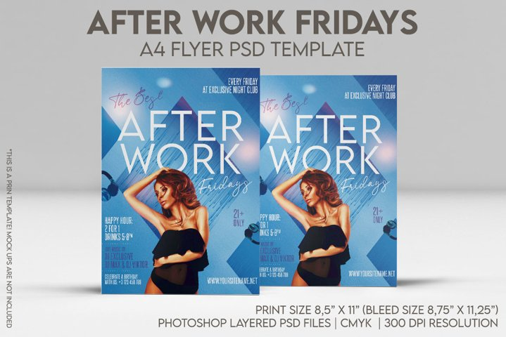 After Work Fridays A4 Flyer PSD Template