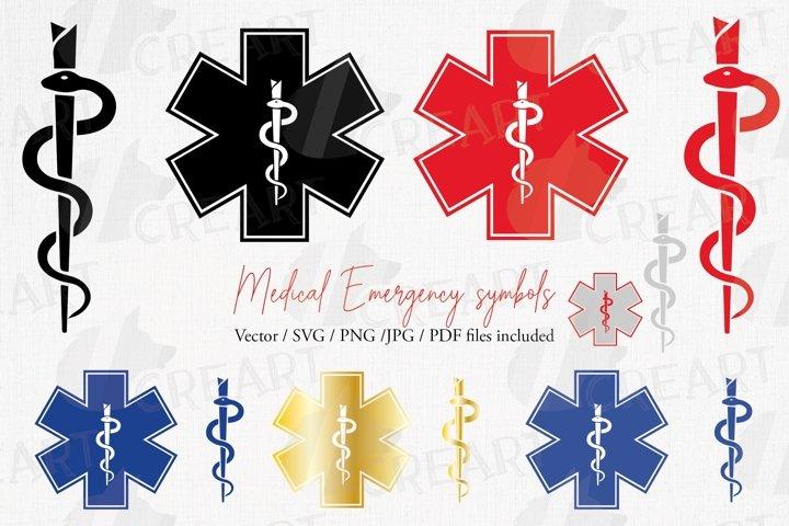 Medical emergency symbols, snake & needle printable design.