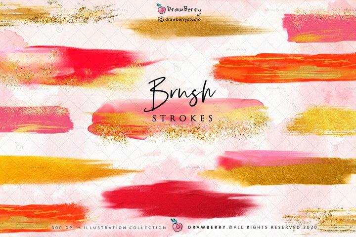 Paint Brush Strokes - Red & Gold Foil