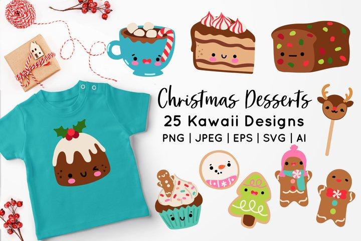 Kawaii Christmas Desserts Vector Graphics bundle
