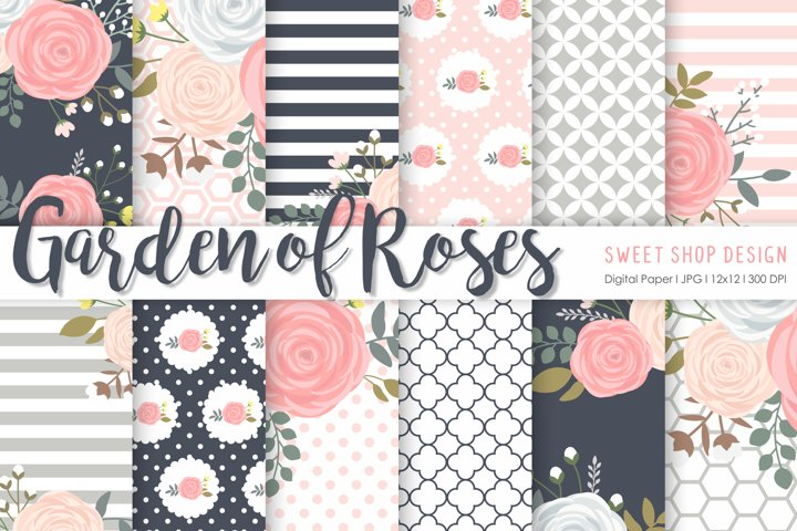 Digital Paper GARDEN OF ROSES, 12x12, Set of 12 Papers