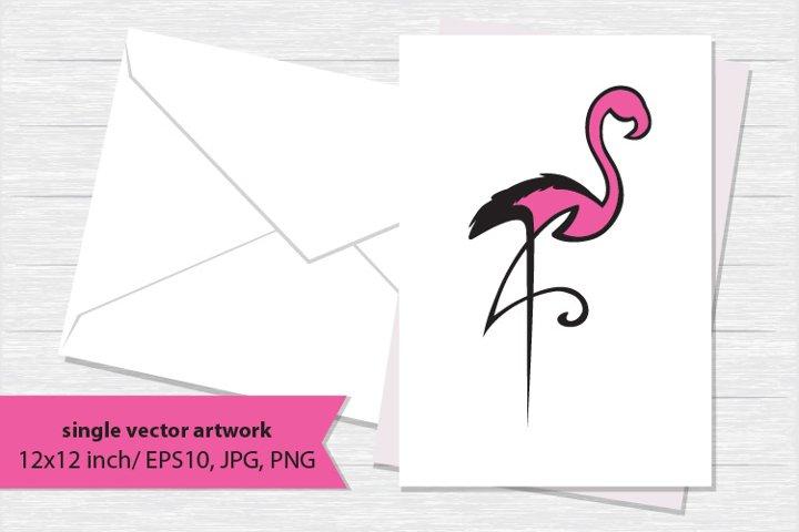Abstract pink flamingo, SINGLE VECTOR ARTWORK