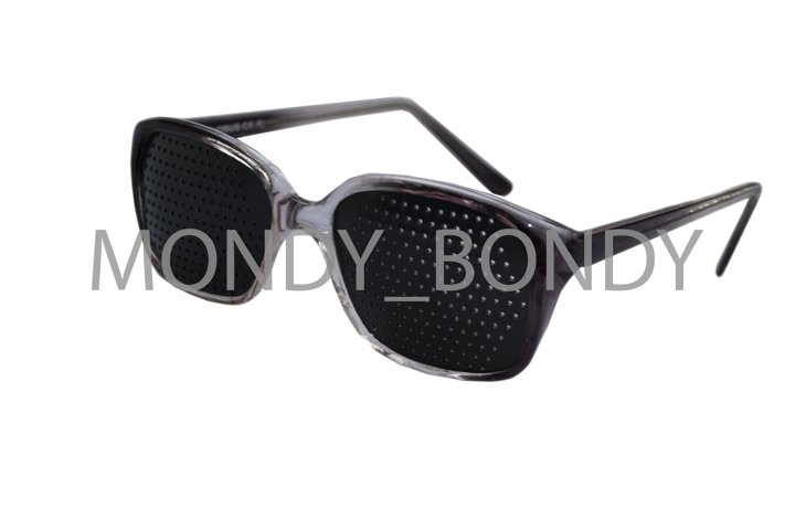 Black glasses with perforation for vision correction