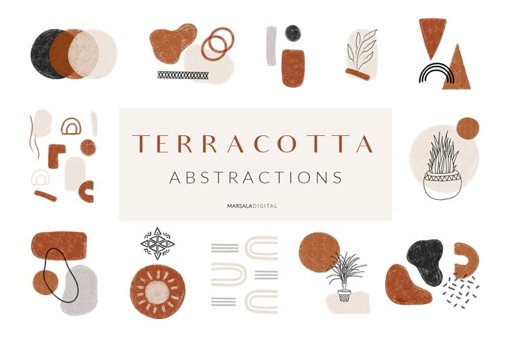 Abstract Graphic Collection Line Art Modern Terracotta