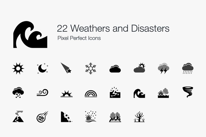Weathers Climates Natural Disasters Pixel Perfect Icons
